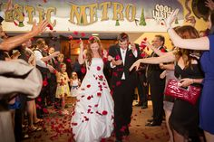 Rose petal wedding exit at The Majestic Metro - Houston wedding photography - MD Turner Photography