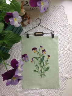Pansies, I like the fabric pick for this little design.
