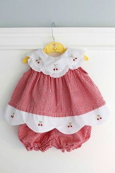 3-6 Months: Red Gingham Baby Outfit, Dress and Bloomer Set, Seersucker Gingham with White Scalloped Collar and Hem with Embroidered Cherries www.etsy.com/shop/petitpoesy