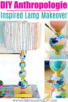 Painting Lamps, Diy Painting, Pastel Paint Colors, Hand Painted Mugs, Painted Vases, White Lamp Shade, Lamp Makeover, Anthropologie, Bright Paintings