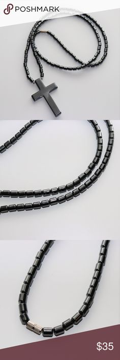 """Black Hematite Gemstone Religious Long Necklace Black Hematite Gemstone Religious Long Necklace   > Condition: New Without Tags > Included Gift Box > Length: 24""""  > Pendant Dimensions: 2"""" L X 1.5"""" W > Handcrafted made with black hematite gemstones  > Comes from a smoke free home  f you have any other questions please contact me!  I'll ship next business day! 📦📬📮  ~Thank you for stopping by!💕 Handcrafted Accessories Jewelry"""