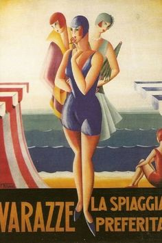 Shop Vintage Travel Poster, Italian Art Deco Poster created by yesterdaysgirl. Poster Retro, Poster S, Poster Prints, Vintage Italian Posters, Vintage Travel Posters, French Posters, Vintage Advertisements, Vintage Ads, Vintage Italy