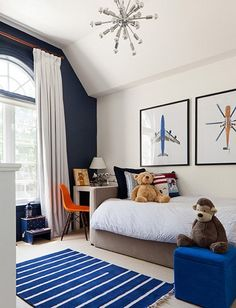 Toddler Boy Room Design Ideas, Pictures, Remodel, and Decor. Like, but white bedding in a boys room? U gotta be kidding; Navy Accent Walls, Navy Walls, White Walls, Cool Bedrooms For Boys, Modern Boys Bedrooms, Childrens Bedrooms Boys, Cool Boys Room, Kids Bedroom Boys, Clean Bedroom