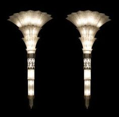 Pair of French Art Deco monumental flair shaped glass wall sconces with chrome plated etched trim (Sabino)(ON HOLD)