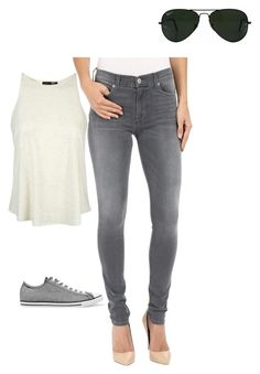 """Another casual outfit"" by bettyboop90 on Polyvore featuring Hudson, Topshop, Converse and Ray-Ban"