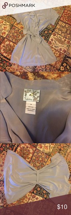 💯 % silk tunic Gorgeous. Slate grey, silly soft tunic with tie. Worn only a few times, adorable on! EUC! tabitha Tops Tunics