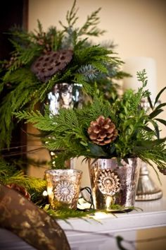 Christmas - Winter Decorating. Mercury Glass with Simple Greens and Cones