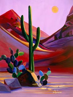 Morning is breaking on this desert landscape by artist D… Cinco de Mayo inspired! Morning is breaking on this desert landscape by artist Diana Madaras Cactus Painting, Cactus Art, Cactus Plants, Cacti, Landscape Walls, Landscape Paintings, Desert Landscape, Landscapes, Scrapbooking Image