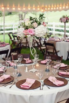 Beautiful rustic chic pink and tan wedding tablescape . The simplicity of the lights is lovely too! Plum Wedding, Rose Wedding, Wedding Colors, Wedding Blog, Wedding Flowers, Wedding Ideas, Second Wedding Dresses, Second Weddings, Deco Rose
