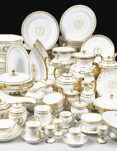Sevres, porcelain set in gold and white with the cypher of the last King of France.purchased by Henry Ford of auto fame & sold at auction from their Palm Beach Estate Fine China Dinnerware, Dinnerware Sets, Antique China, Vintage China, China Tea Sets, Dinner Sets, Pottery, Antiques, Decoration