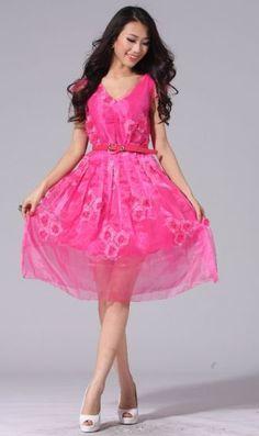 #SheInside Rose Red Cap Sleeve Embellished Applique Flowers V-neck Dress - Sheinside.com