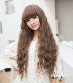 วิกผมยาว แบบสาวเกาหลีหน้าม้าดัดลอนเล็กสวยเซ็กซี่ผมเยอะและนุ่มเกรดพิเศษ นำเข้า สีน้ำตาลอ่อน - พร้อมส่งW133 ราคา990บาท
