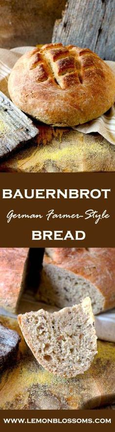 Bauernbrot – Farmer Style German Bread Bauernbrot, the German farmer-style bread is a full flavored, crusty and delicious hearty rye bread. Serve it a bit warm with some butter and cheese, oh my! Perfect and homemade! Bread Recipes, Baking Recipes, German Bread, German Rye Bread Recipe, German Baking, Bread And Pastries, Artisan Bread, Bread Baking, Baked Goods
