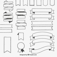 Banners hand drawn hand drawn banner ribbons ribbon drawing Vectors, Photos and PSD files Bullet Journal Headers, Bullet Journal Banner, Bullet Journal Writing, Bullet Journal Ideas Pages, Bullet Journal Inspiration, Banner Doodle, How To Draw Ribbon, Banner Drawing, Bullet Journal Aesthetic