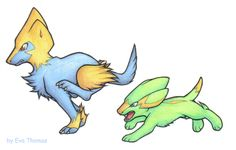 Electrike and Manectric by CicadaNoise on DeviantArt Dog Pokemon, Type Pokemon, Gotta Catch Them All, Cute Pokemon Wallpaper, Bowser, Monsters, Concept Art, Fanart, Electric