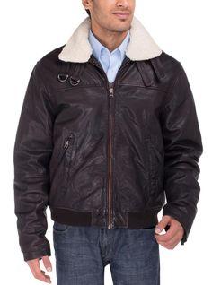Luciano Natazzi Men's Lambskin Heritage Flight Bomber Leather Jacket (Large, Brown)
