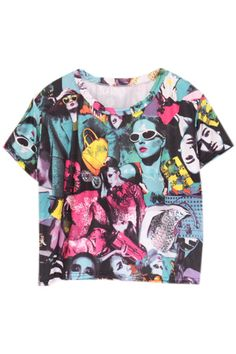 ROMWE | Various Makeup Girl Print T-shirt, The Latest Street Fashion