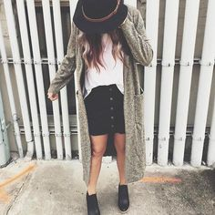 oversized cardigan, button up skirt, tucked in tee #fallstyle