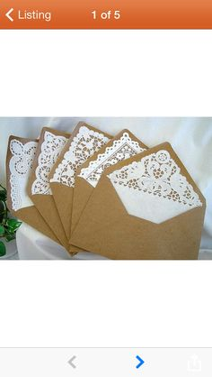 Lace lined envelopes