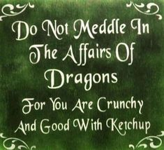Do not meddle in the affairs of dragons. For you are crunchy and good with ketchup. Love this, except I don't like ketchup! Mustard would work. The Words, Me Quotes, Funny Quotes, Funny Phrases, Quotable Quotes, Writer Quotes, Reading Quotes, Quotes Images, Humor Quotes