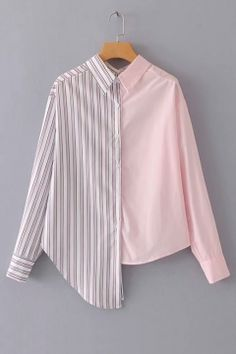 Casual Striped and Colorblock Shirt Regular Fit Collar Long Sleeve Placket Multicolor Contrast Stripe Asymmetric Hem Shirt Teen Fashion Outfits, Hijab Fashion, Fashion Dresses, Only Shirt, Stylish Shirts, Mode Hijab, Mode Style, Blouse Designs, Collar Designs