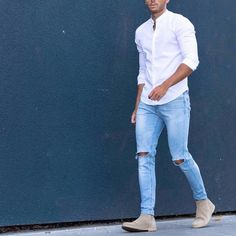 Clean outfit by @raretrio - #mandarincollar shirt ripped jeans and #chelseaboot