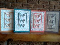 Lots of Butterflies Stamps: Papillon Potpourri Paper: Whisper White, Island Indigo, Calypso Coral, Wisteria Wonder, Apricot Appeal (ret) Ink: Island Indigo, Calypso Coral, Wisteria Wonder, Apricot Appeal (ret) Accessories: Elegant Butterfly Punch, Lacy Brocade EF Techniques: Dry Embossing