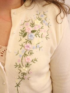 Vintage 60s Pastel Floral Cream Embroidered by ClementinesBoutique, $40.00