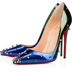Christian Louboutin Degraspike (£720) ❤ liked on Polyvore featuring shoes, pumps, heels, christian louboutin, louboutin, ocean amazone, high heel stilettos, pointed toe pumps, patent leather shoes and stiletto heel pumps