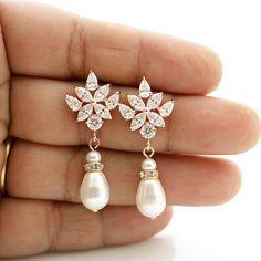 Rose Gold Ohrringe Kristall Hochzeit Ohrringe von poetryjewelry