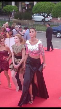 Catalina Denis arribando a la ceremonia de apertura del Festival de Tv de Montecarlo
