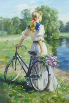 Romantic Paintings, Cool Paintings, Beautiful Paintings, Aesthetic Photography Nature, Art Photography, Bicycle Painting, Princess Art, Cycling Art, Renaissance Art