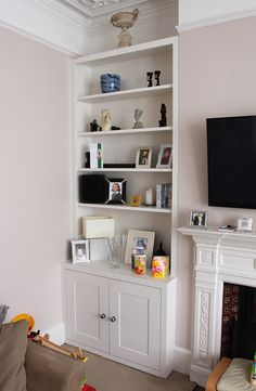 White bedroom shelf: fitted alcove bookshelves in ealing broadway. Dining Room Shelves, Living Room Storage, My Living Room, Fitted Bedroom Furniture, Living Room Furniture, Mdf Furniture, Alcove Bookshelves, Bookcase Stairs, Alcove Seating
