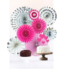 Make a magical experience for your guests with these gorgeous rosettes. Hang them from the ceiling or pin them to the wall for decor. Use a larger amount on a wall for a back drop for photos or to showcase gifts or a cake. Kit includes: Hot Pink with touches of white and silver 8 rosettes: Each pack Valentines Party Decorations, Pink Party Decorations, Summer Wedding Decorations, Valentine Party, Chocolate Sculptures, Sushi Art, Pink Birthday, Pink Parties, Backdrops For Parties