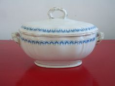 "Antique Furnival England Royal Semi- Porcelain Tureen ""Louis"" Pattern."