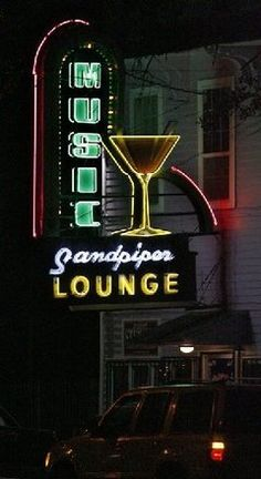 This gorgeous neon sign on The Sandpiper on Louisiana Avenue in New Orleans is almost as big as the neighborhood bar itself: The Sandpiper Lounge.