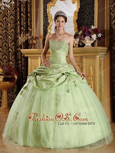 Luxurious Yellow Green Quinceanera Dress Strapless  Beading fashionos.com