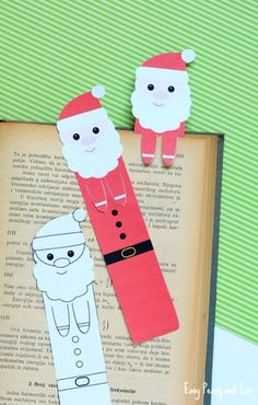 Printable Santa Bookmarks - Christmas Printables - Easy Peasy and Fun Christmas Arts And Crafts, Noel Christmas, Christmas Activities, Christmas Printables, Christmas Colors, Holiday Crafts, Fun Crafts, Paper Crafts, Bookmark Craft