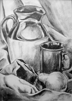 Charcoal still life drawings of fruit, vegetables and household objects Pencil Art, Pencil Drawings, Art Drawings, Charcoal Art, Charcoal Drawings, Fruit Salad Ideas Parties, Fruits Drawing, Still Life Drawing, Fruit Illustration