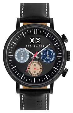 Ted+Baker+London+'Sport'+Chronograph+Leather+Strap+Watch,+40mm+available+at+#Nordstrom