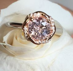 White and Rose gold ring, Natural baby pink morganite ring, Diamond halo ring, Engagement diamond ring, Braided halo ring designed by Irina by BridalRings on Etsy https://www.etsy.com/listing/293842199/white-and-rose-gold-ring-natural-baby