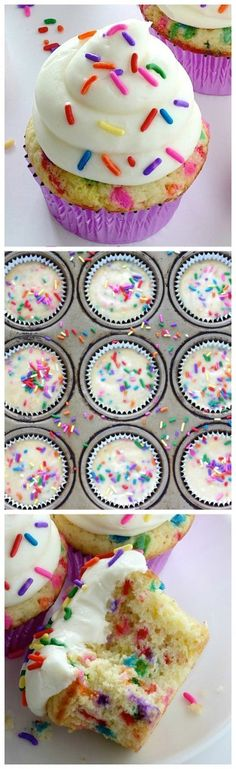 These Super Easy One Bowl Funfetti Cupcakes are a must make! Soft, fluffy, and exploding with sprinkles!