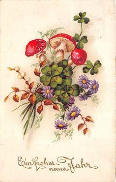 BG3964 mushrooms new year neujahr flower mistletoe germany greetings in Collectables, Postcards, Holiday/ Butlins   eBay