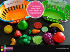 Preschoolers learn best with hands on experiences. Here's a way of learning with vegetables and fruits.