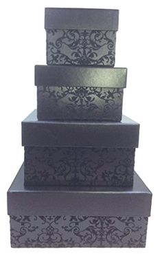 Large decorative gift boxes make for charming home decor. Also these decorative gift boxes are functional and they perform well Especially decorative nesting gift boxes. Great for key storage, jewelry storage, #gift #boxes and to use as home decorative accents.  #giftboxes    Halloween Candy Box - Nesting Boxes with Lids – 4 Assorted Sizes Large, Small, Medium, Extra Small - Black Boxes with flocked pattern
