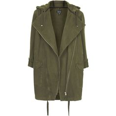 TOPSHOP Waterfall Front Parka Jacket (1,025 MXN) ❤ liked on Polyvore featuring outerwear, jackets, coats, coats & jackets, khaki, topshop, topshop parka, cotton parka and khaki parka