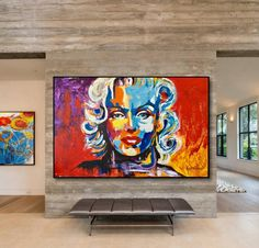 Marilyn Monroe Canvas, Home Decor, Pop Art Fine Art, Portrait, Acrylic Painting, Large Wall Art Canvas Painting Urban Art, Ready To Hang Art