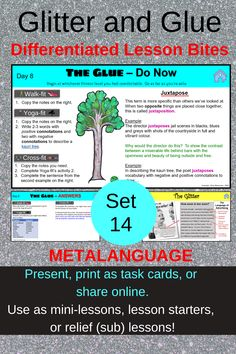 Metalanguage to discuss texts is key, specifically verbs that discuss what an author/director is doing eg convey, ellicit... Teach your students online, in the classroom (present or distribute task cards) or at home with Set 14 of this popular 'Glitter and Glue' series. Bell Ringers, Home Schooling, Differentiation, High School Students, Essay Writing, Task Cards, Critical Thinking, Teacher Resources, Lesson Plans
