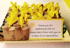Baby Shower Favors. You are my sunshine theme. Freesia bulb packets