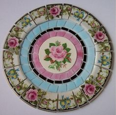 RARE-CHINA-MOSAIC-TILE-SET-SHABBY-VINTAGE-PINK-ROSE-BLUE-BIRD-STAINED-GLASS-7